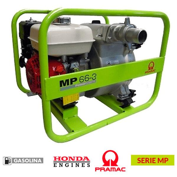 Motobomba PRAMAC MP 66-3 de 242 cc, 1340 l/min, altura máxima: 27 metros.