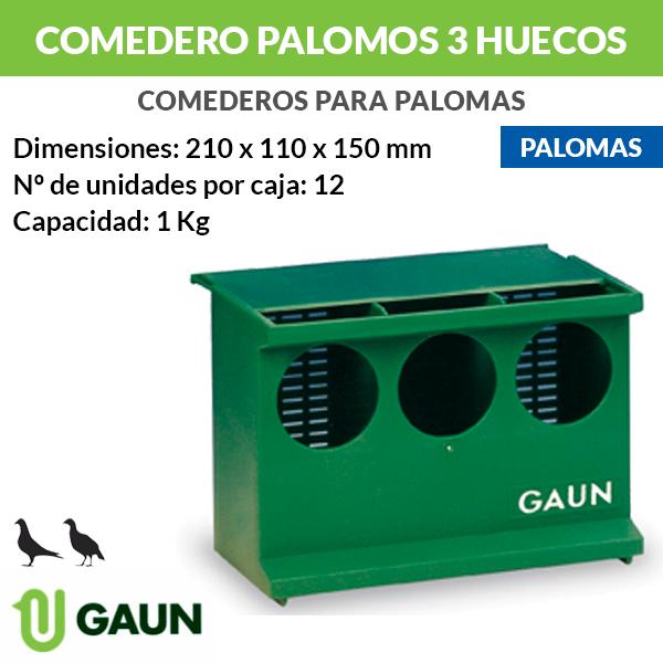 Comedero verde para palomas 3 huecos