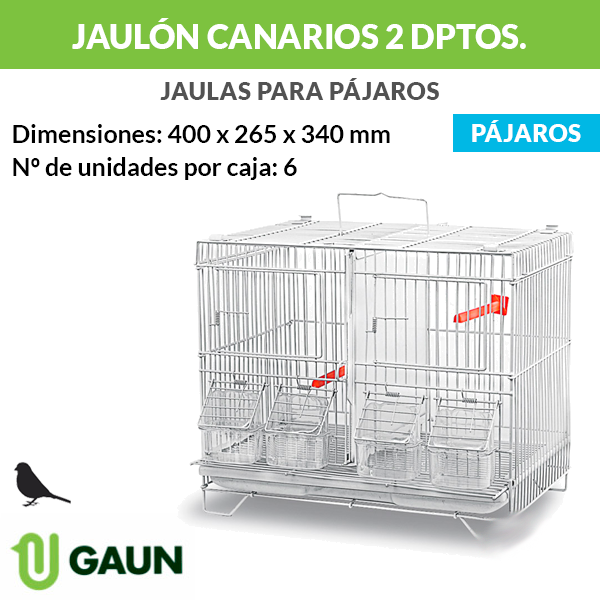 Jaulón canarios 2 departamentos - 40 cm