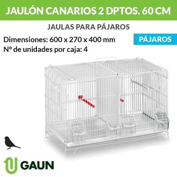 Jaulón canarios 2 departamentos - 60 cm
