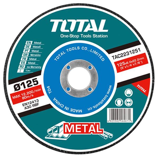 Disco abrasivo corte metal amoladora 125mm 6.0mm TOTAL TAC2231251