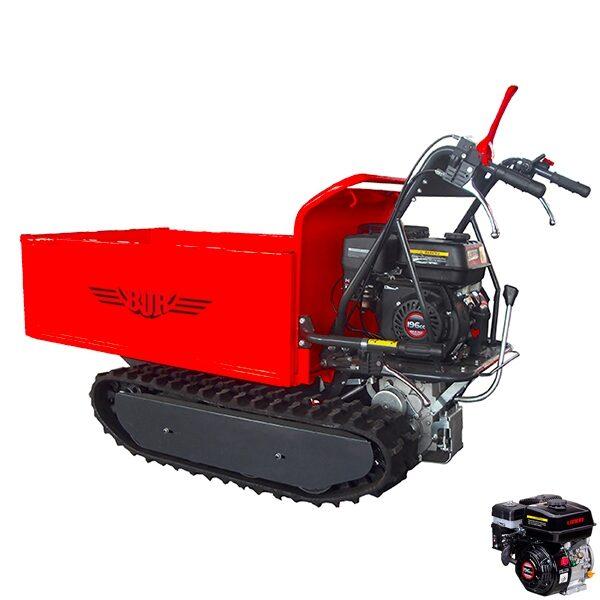 Carretilla oruga BJR SP MINITRANS 500 HID con Remolque autobasculante hidráulico motor Loncin