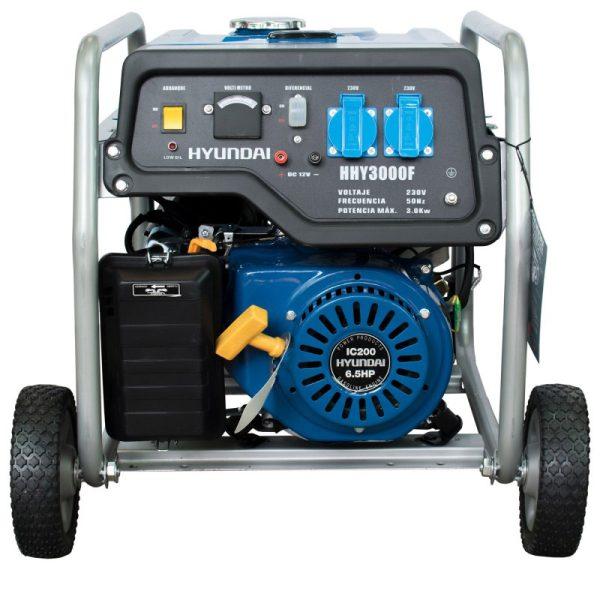 Generador Eléctrico Gasolina Monofásico con ruedas Hyundai HHY3000FK