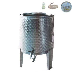 Depósito para vino floreados inox 304 con fondo cónico, patas y tapa flotante de cierre neumático siempre lleno con regalo