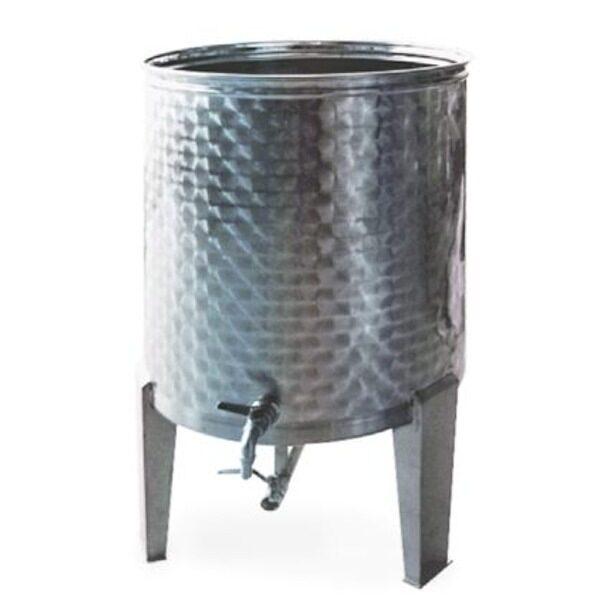 Depósito floreado para aceite INOX 304 con fondo conico, patas y tapa de polvo