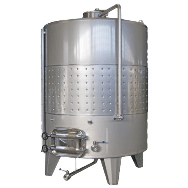 Depósito INOX 304 para vino cerrado con fondo cónico con puerta superior e inferior de apertura exterior