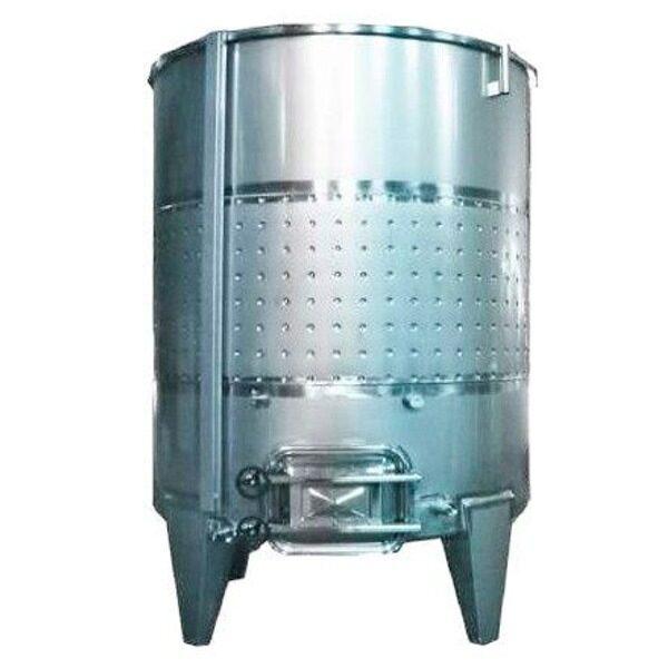 Depósito INOX 304 para vino siempre lleno con fondo plano inclinado y camisa con cierre completo de aire