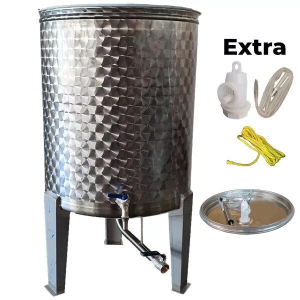Depósito para vino floreados inox 304 con fondo cónico, patas y tapa flotante de cierre neumático siempre lleno