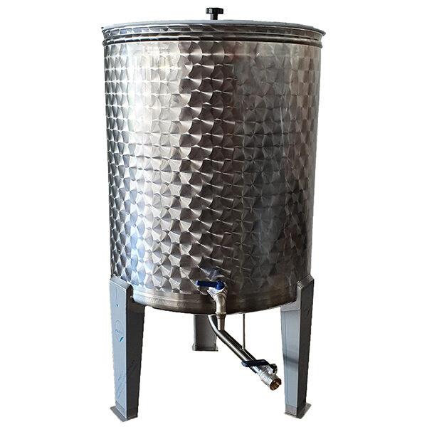 Depósito para vino floreados inox 304 con fondo cónico y patas con cierre de aceite