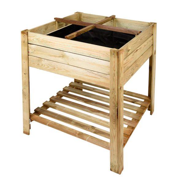 huerto urbano mesa de madera cuadrada
