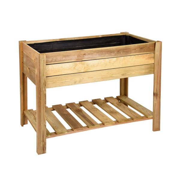 huerto urbano mesa de madera rectangular