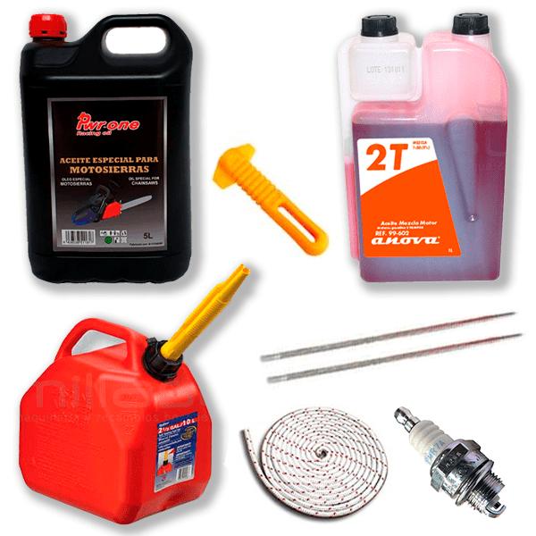 Kit: Aceite engrase 5l, Aceite de mezcla 1L, Garrafa 5L, Bujía, Cuerda de arranque, 2 Limas y mango