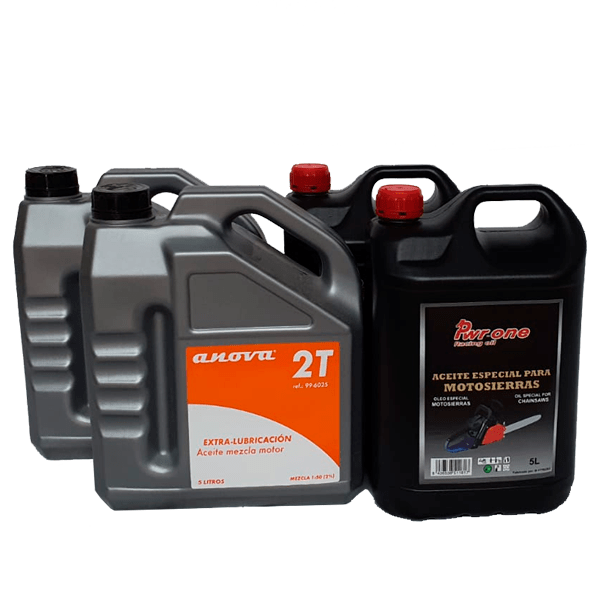 Pack of 2 mixing oils 5L and 2 chainsaw chain lubrication oils 5L