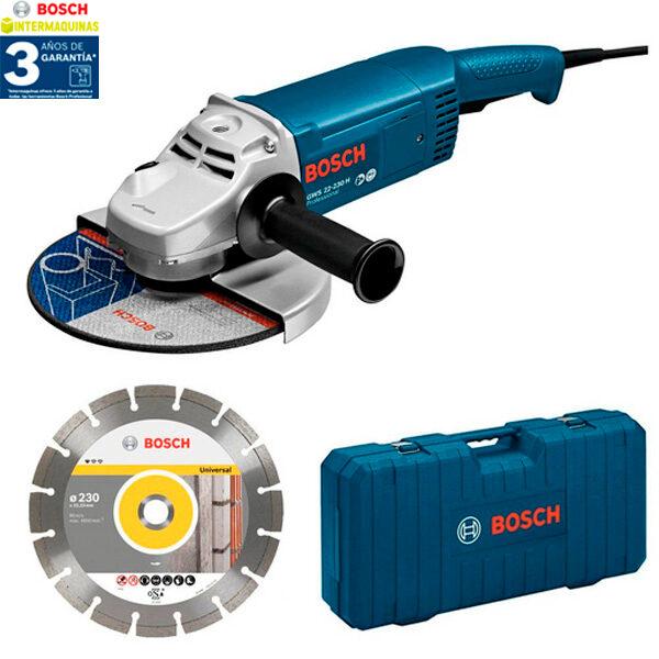 Amoladora Bosch GWS 22-230 JH + Disco de diamante de 230 mm + Maletín