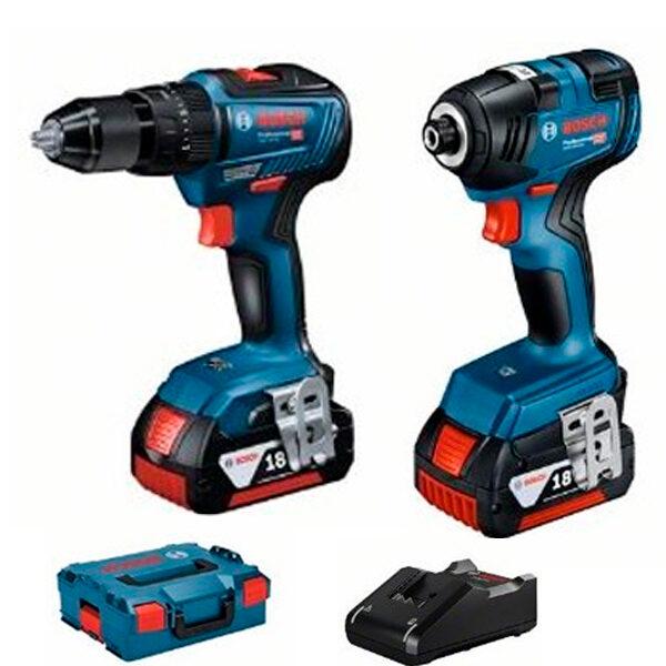 Kit combinado Bosch: GDX 18V-200 + GSR 18V-55 + 2 GBA 18V 4.0Ah + GAL 18V-40 en L-BOXX