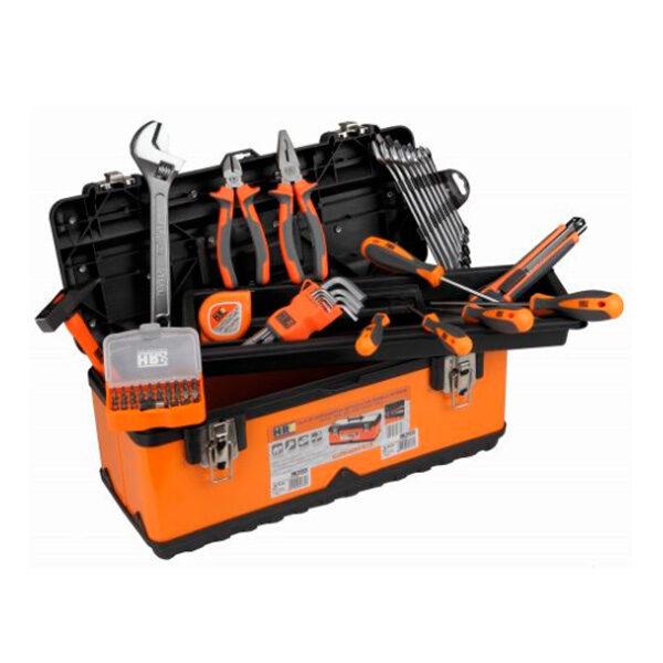Boîte en métal avec plateau intérieur et 59 outils HR