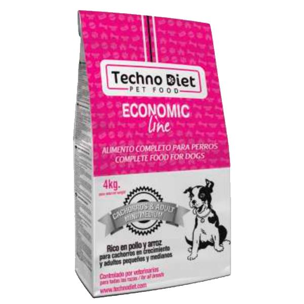 Pienso para perros Techno Diet Economic Line Cachorros & Adult Mini/Medium E5 4Kg