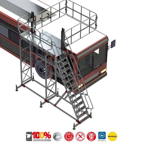 Faraone TSA-S ladder with platform and adjustable handrail